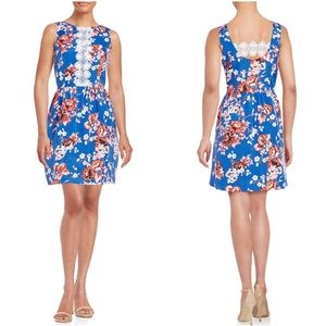 NWT Kensie Blue Floral Fit And Flare Dress